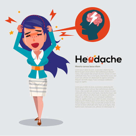 smart women get headache - healthcare and migraine concept - vector illustration