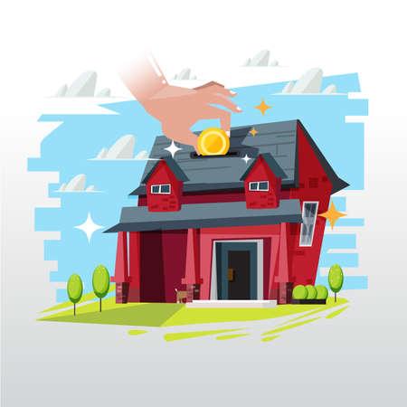 investment real state: insertar moneda de dinero para la casa. hipoteca o inversión de bienes raíces - ilustración vectorial
