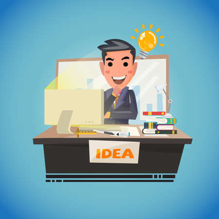 working on school project: Businessman thinking with light bulb. creative idea. smart thinking - vector illustration