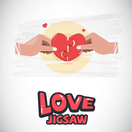hand holding piece of jigsaw. love concept - vector illustration Illusztráció