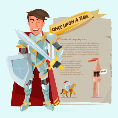 A knight character design with battle shields and sword.