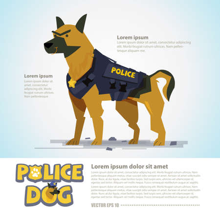 smart police dog in uniform. character design come with typographic  - vector illustration Vectores