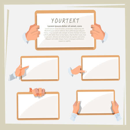 hand of smart man holding blank paper. collection, show and presenting - vector illustration Illustration