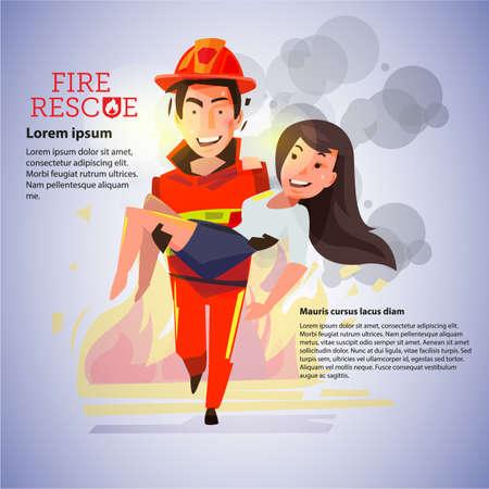 bombero que lleva a la muchacha hermosa en el fondo del fuego. concepto de recue - ilustración vectorial