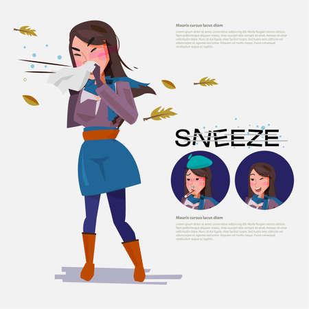 schattige vrouw gaat niezen vanwege het weer. set van karakter. ziekte concept. typografisch voor headerontwerp. infographic - vectorillustratie Stock Illustratie