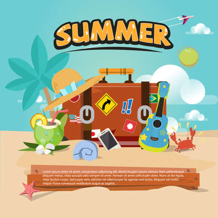 travel bag. Summer accessories on the beach with summer typographic design . travel concept - vector illustration Çizim