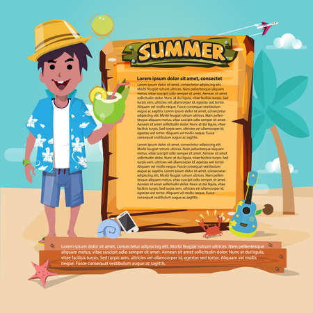 beach man with wood sign to presenting. summer set icon, summer beach concept - vector illustration Çizim