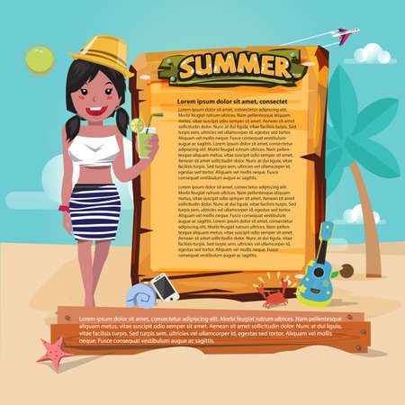 cute beach girl with wood sign to presenting. summer set icon, summer beach concept - vector illustration