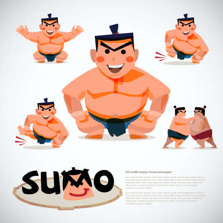 Sumo wrestler in action set. character design, japanese  traditional concept - vector illustration