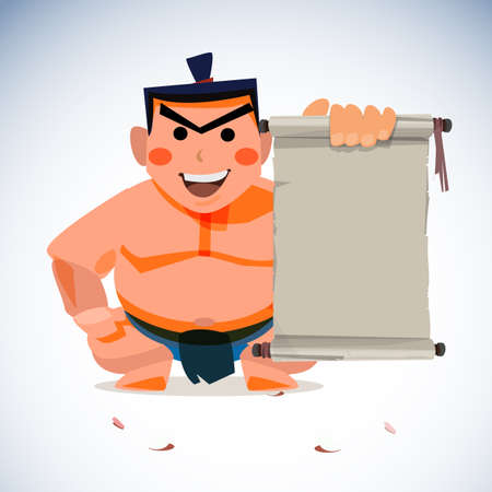 sumo wrestler holding old vintage paper roll for presenting. traditional concept - vector illustration