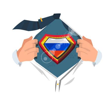 """영웅 스타일로 """"러시아 국기""""를 보여주는 똑똑한 남자 오픈 셔츠. 러시아 개념 - 벡터 일러스트 레이 션입니다. 일러스트"""