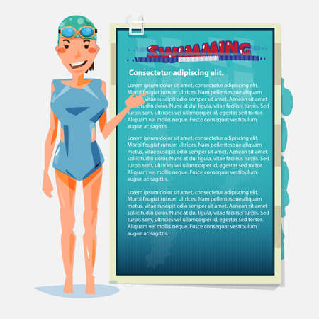 swimming girl presenting. benefit of swimming sport - vector illustration