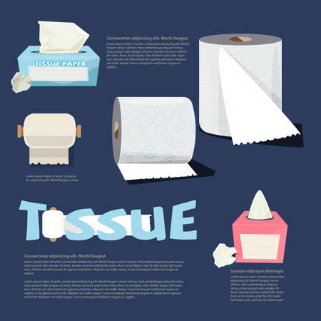 set of tissue paper. infographic. logotype. typographic - vector illustration