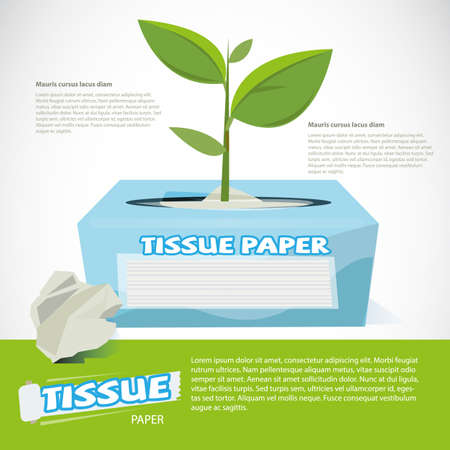 Trees growing on tissue paper box. eco paper - vector illustration