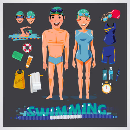 Swimming related illustration.