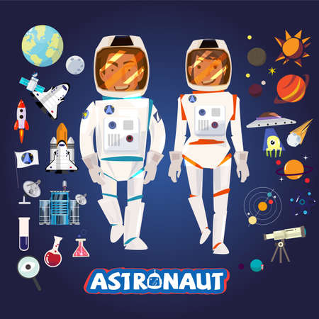Smart Astronaut male and female, character with icons set, typographic for vector.