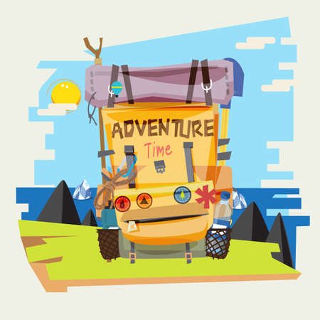Backpack with mountain and sea background. adventure and explorer concept - vector illustration