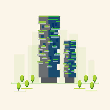 The new Bosco Verticale building in Milan, Italy - vector illustration
