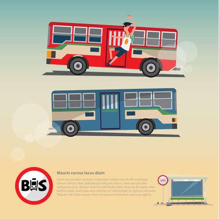 Bus met bushaltestructuur. stads doorvoer concept. logotypo - vectorillustratie Stock Illustratie