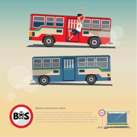 Bus with bus stop structure. city transit concept. logotypo - vector illustration Imagens - 85465012