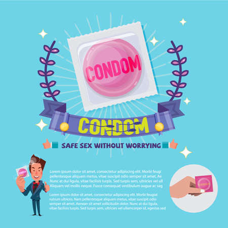 Contraceptive in package with guarantee label. Healthy concept. Çizim
