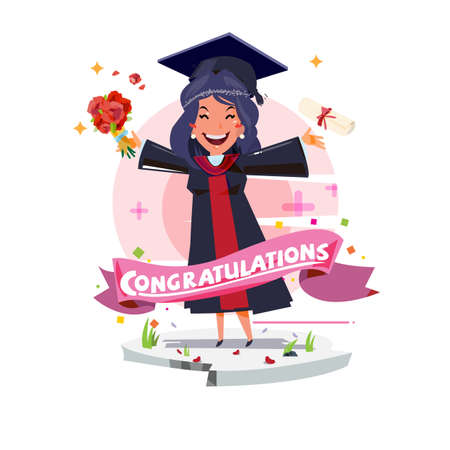 graduating happy student girl. character design with congratulation label - vector illustration Иллюстрация