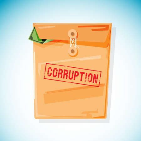 Envelope filled with money inside. Corruption concept vector illustration.