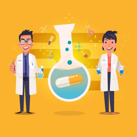 medisch laboratorium wetenschapper. Characterdesign met geneeskundecapsule in chemische reageerbuizen - vectorillustratie Stock Illustratie