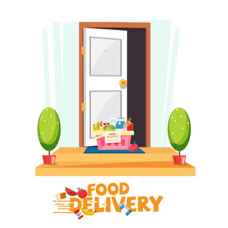 food in basket in front of the door. delivery food service concept. e-commerce - vector illustration 版權商用圖片 - 85465384