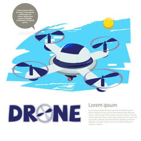 remote drone with camera. typographic - vector illustration