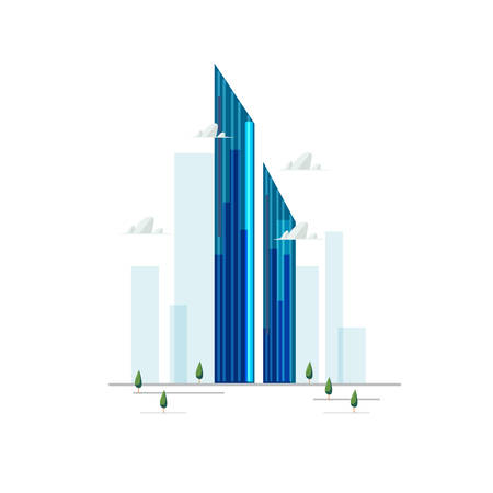 burj mohammed bin rashid tower in Dubai, UAE - vector illustration