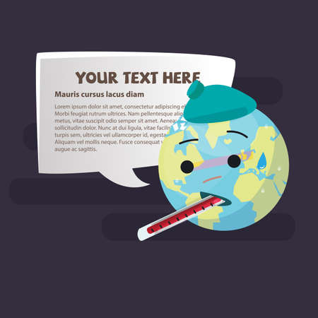 Sick Planet Earth Wearing An Ice Pack withThermometer. save world concept - vector illustration 版權商用圖片 - 85465390