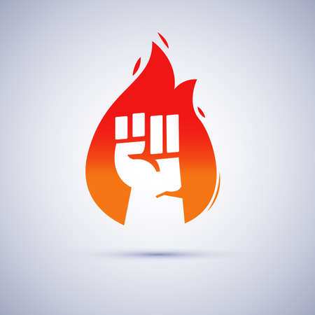 fist hand Inside Distressed Flame, power of fire, revolution concept - vector illustration