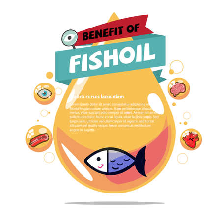 fish oil. Cod liver oil with benefit - vector illustration