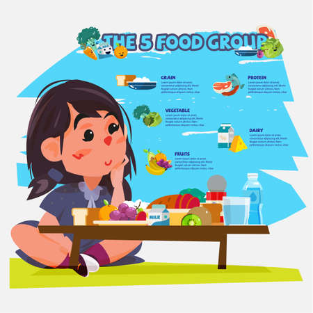 cute little girl with five food group. character design - vector illustration Ilustracja