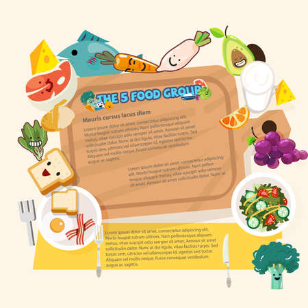 wood chopping block surround by five food group healthy foods concept - vector illustration