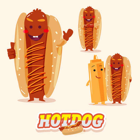 hot dog: hotdog charcter in various action with typographic design. funny food - vector illustration