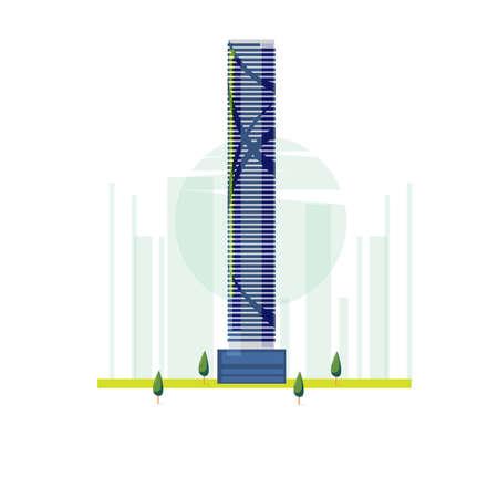인피니티 타워, 브리스번, 호주. 유명한 건물 - 벡터 일러스트 레이 션
