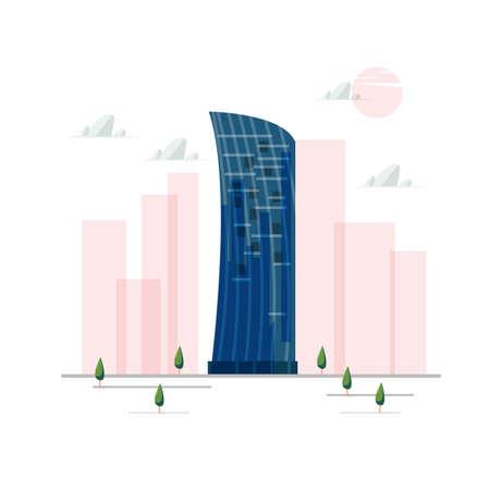 KKR Tower. Kuala Lumpur, Malaysia. famous building - vector illustration. Illustration