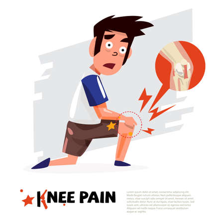knee pain. character design with icon. - vector illustration