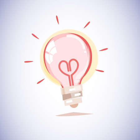 light bulb with a filament in the shape of a heart. love concept - vector illustration