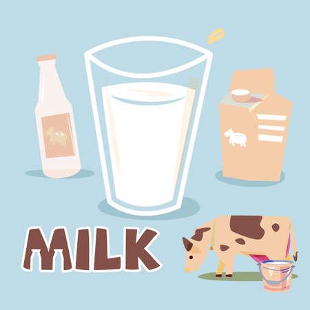 Milch in Glasschale mit Box und Flasche Milch. Standard-Bild - 85468819