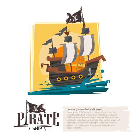 헤더 벡터 일러스트 레이션을위한 해적선 인쇄 디자인