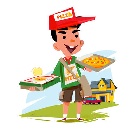 Pizza boy holding pizza box vector illustration