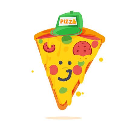 Piece of pizza wearing cap cartoon character vector illustration Illustration