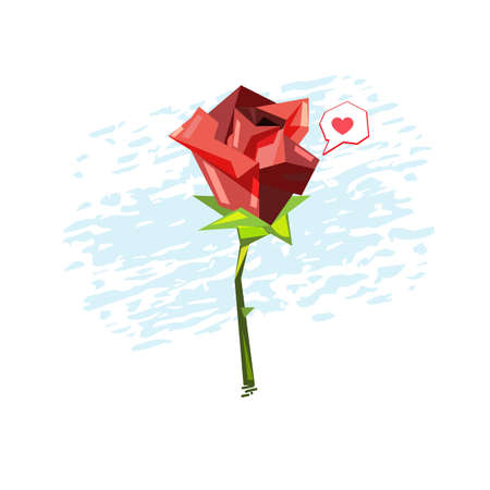 Red Rose with heart bubble vector illustration