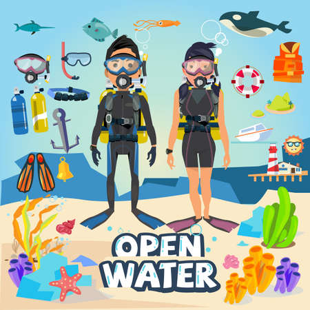 Scuba diving. male and female character design with equipment and graphic element. typographic design for header - vector illustration