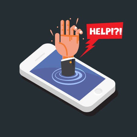 hands reaching out of smartphone with help bubble. smartphone addiction concept - vector illustration