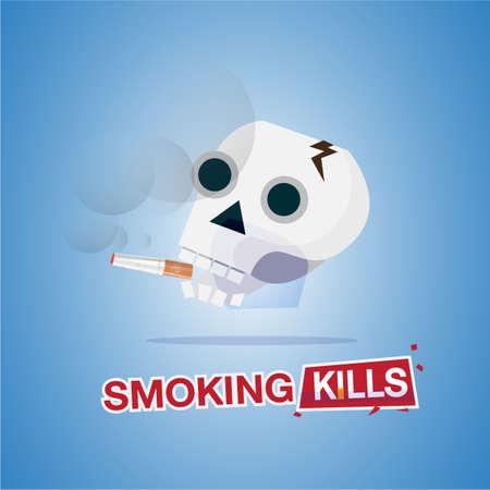 인간의 두개골 담배를 흡연. 흡연 살인. 헤더 디자인 - 벡터 일러스트 레이 션에 대 한 인쇄상의 일러스트