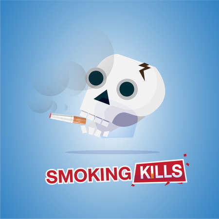 human skull smoking the cigarette. smoking kills. typographic for header design - vector illustration Illustration
